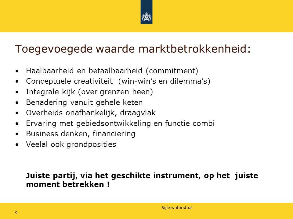 Rijkswaterstaat Toegevoegede waarde marktbetrokkenheid: Haalbaarheid en betaalbaarheid (commitment) Conceptuele creativiteit (win-win's en dilemma's)