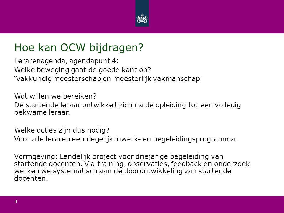 Hoe kan OCW bijdragen? Lerarenagenda, agendapunt 4: Welke beweging gaat de goede kant op? 'Vakkundig meesterschap en meesterlijk vakmanschap' Wat will