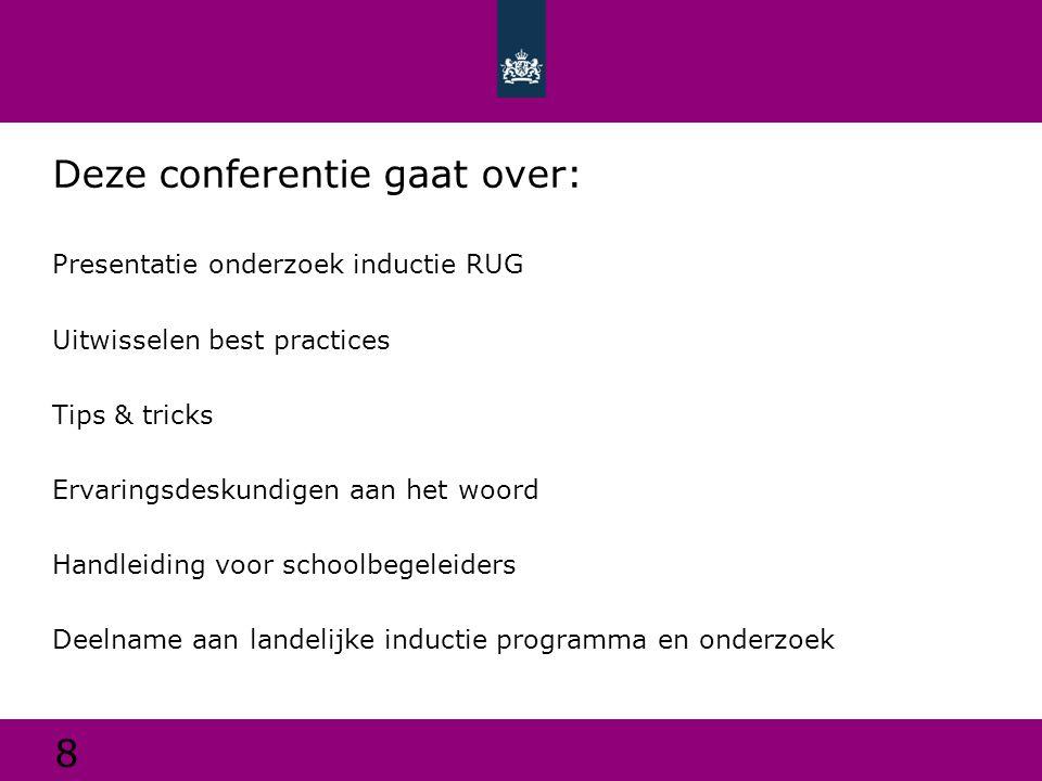 Deze conferentie gaat over: Presentatie onderzoek inductie RUG Uitwisselen best practices Tips & tricks Ervaringsdeskundigen aan het woord Handleiding