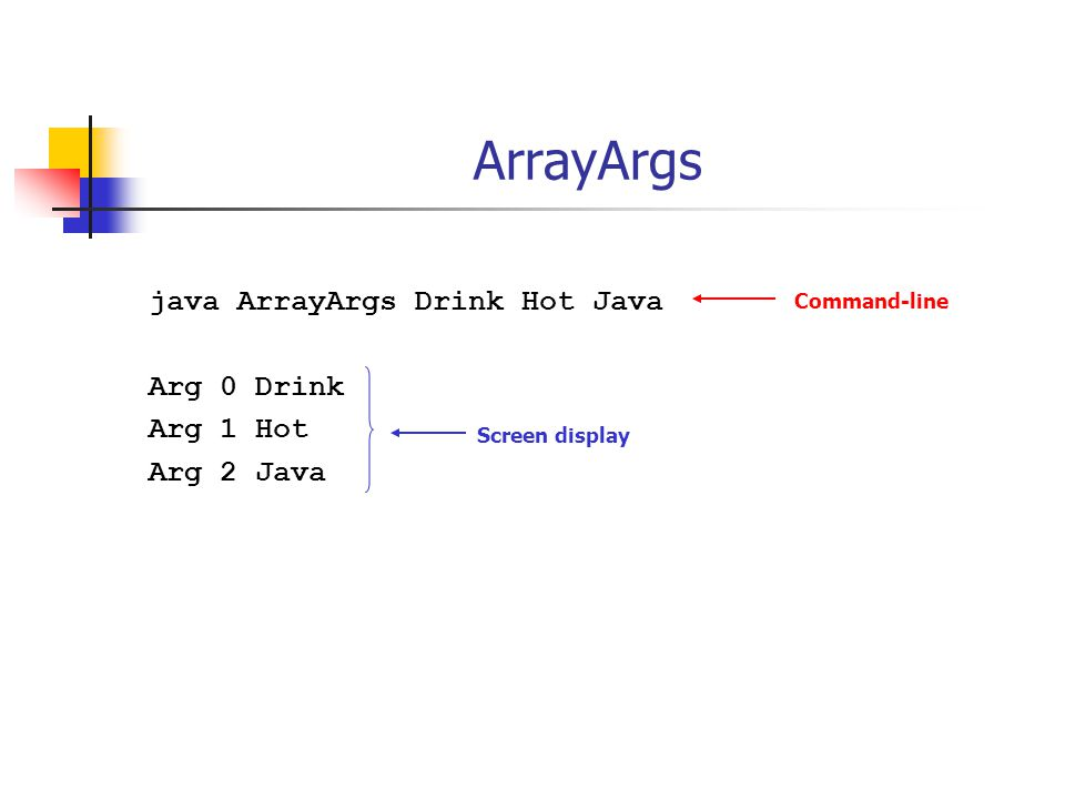 Array declaratie Specificeer type elementen int[] scores; int scores[]; String[] names; String names[]; Account[] accounts; Account accounts[]; Arrayvariabelen worden gedeclareerd.