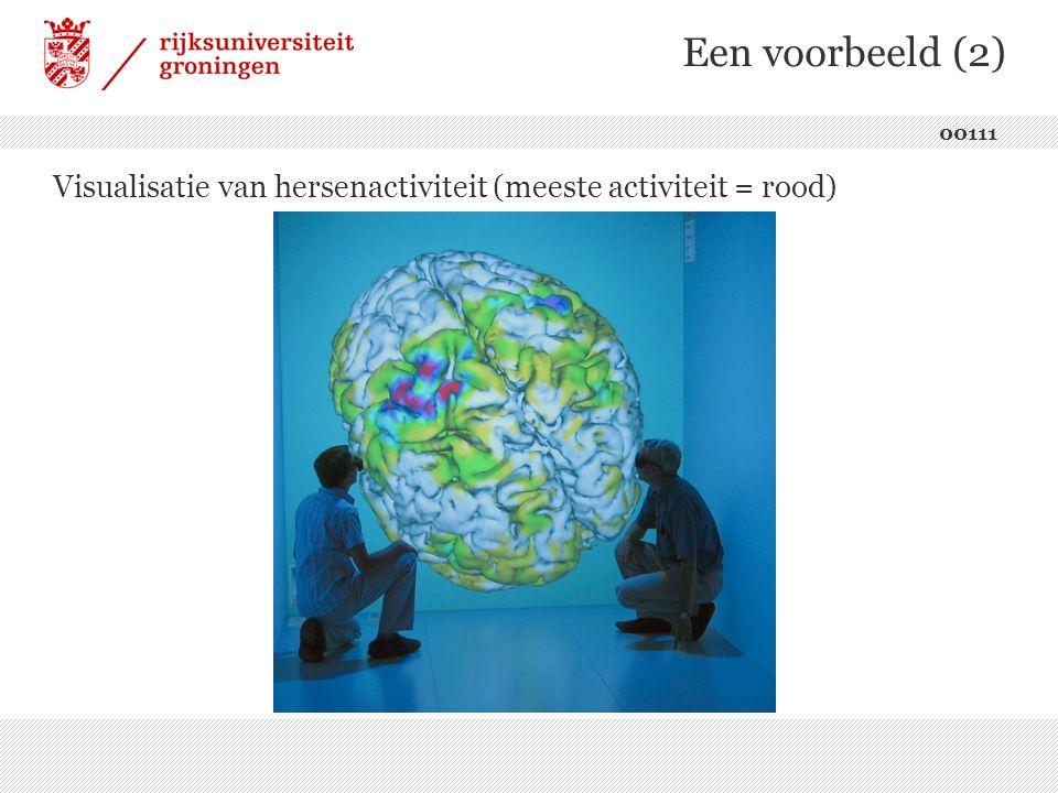 Een voorbeeld (2) Visualisatie van hersenactiviteit (meeste activiteit = rood) 00111