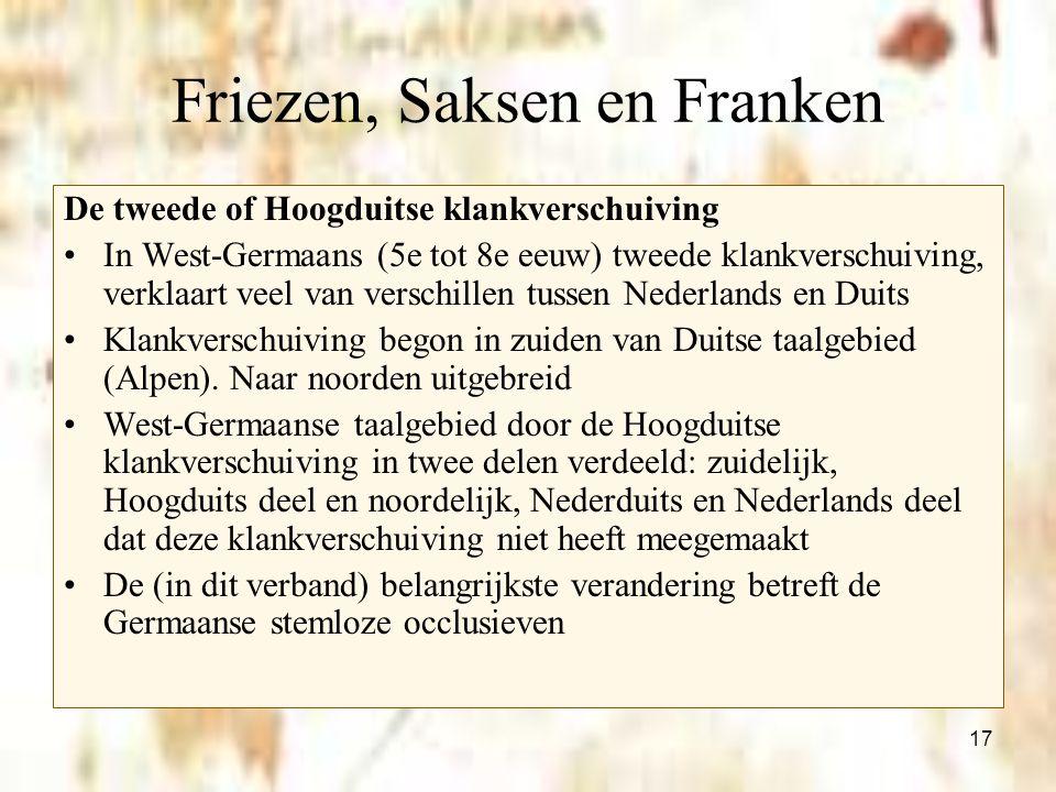 17 Friezen, Saksen en Franken De tweede of Hoogduitse klankverschuiving In West-Germaans (5e tot 8e eeuw) tweede klankverschuiving, verklaart veel van