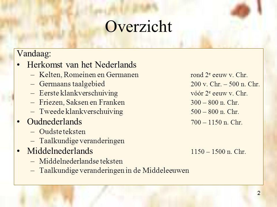 2 Overzicht Vandaag: Herkomst van het Nederlands –Kelten, Romeinen en Germanen rond 2 e eeuw v. Chr. –Germaans taalgebied 200 v. Chr. – 500 n. Chr. –E