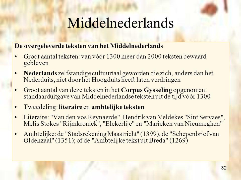 32 Middelnederlands De overgeleverde teksten van het Middelnederlands Groot aantal teksten: van vóór 1300 meer dan 2000 teksten bewaard gebleven Neder