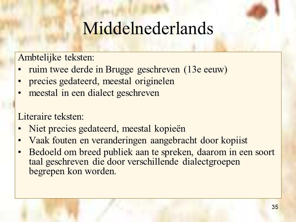 35 Middelnederlands Ambtelijke teksten: ruim twee derde in Brugge geschreven (13e eeuw) precies gedateerd, meestal originelen meestal in een dialect g