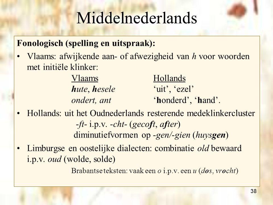 38 Middelnederlands Fonologisch (spelling en uitspraak): Vlaams: afwijkende aan- of afwezigheid van h voor woorden met initiële klinker: VlaamsHolland