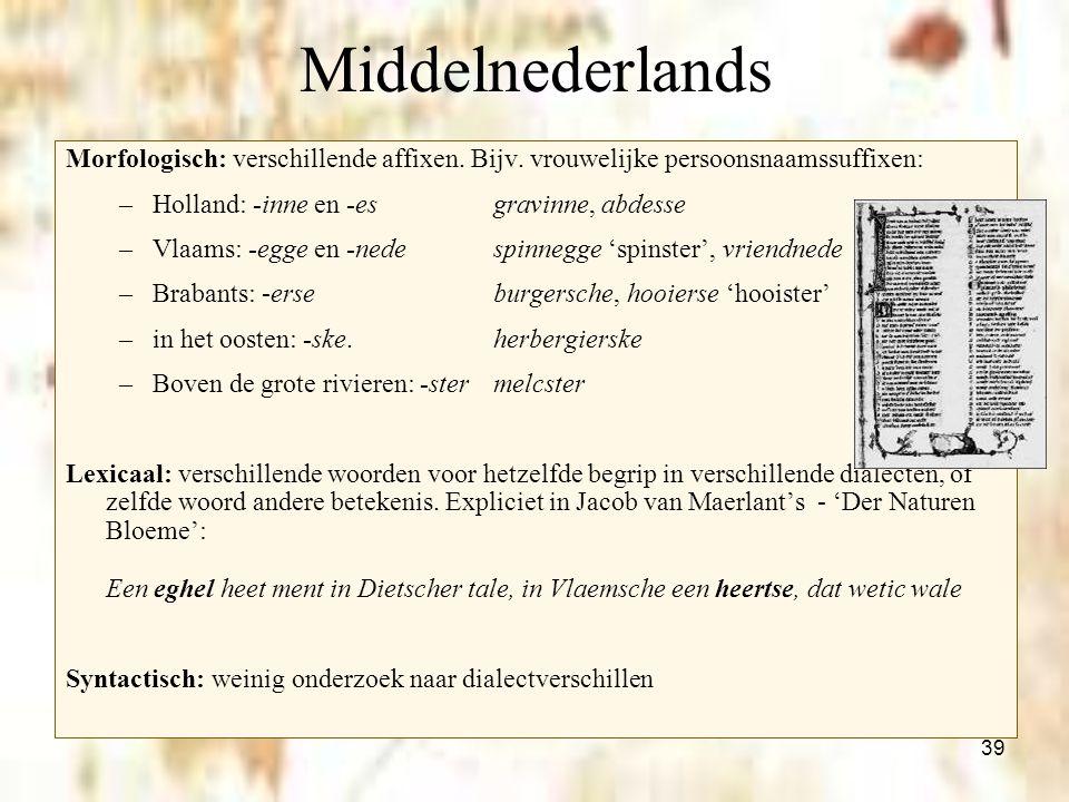 39 Middelnederlands Morfologisch: verschillende affixen. Bijv. vrouwelijke persoonsnaamssuffixen: –Holland: -inne en -es gravinne, abdesse –Vlaams: -e