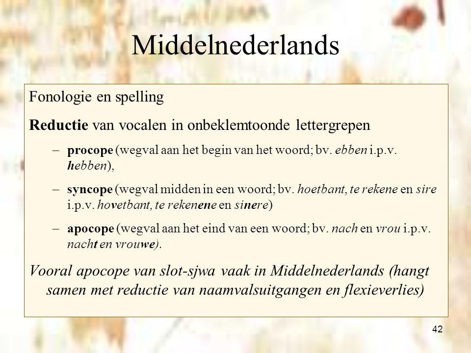 42 Middelnederlands Fonologie en spelling Reductie van vocalen in onbeklemtoonde lettergrepen –procope (wegval aan het begin van het woord; bv. ebben