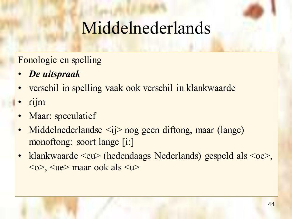44 Middelnederlands Fonologie en spelling De uitspraak verschil in spelling vaak ook verschil in klankwaarde rijm Maar: speculatief Middelnederlandse