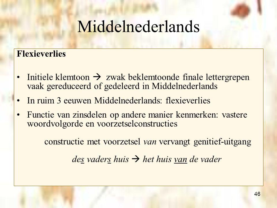 46 Middelnederlands Flexieverlies Initiele klemtoon  zwak beklemtoonde finale lettergrepen vaak gereduceerd of gedeleerd in Middelnederlands In ruim
