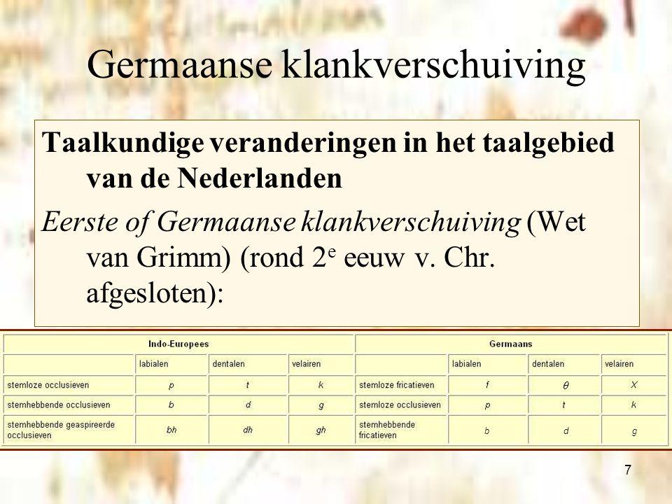 7 Germaanse klankverschuiving Taalkundige veranderingen in het taalgebied van de Nederlanden Eerste of Germaanse klankverschuiving (Wet van Grimm) (ro