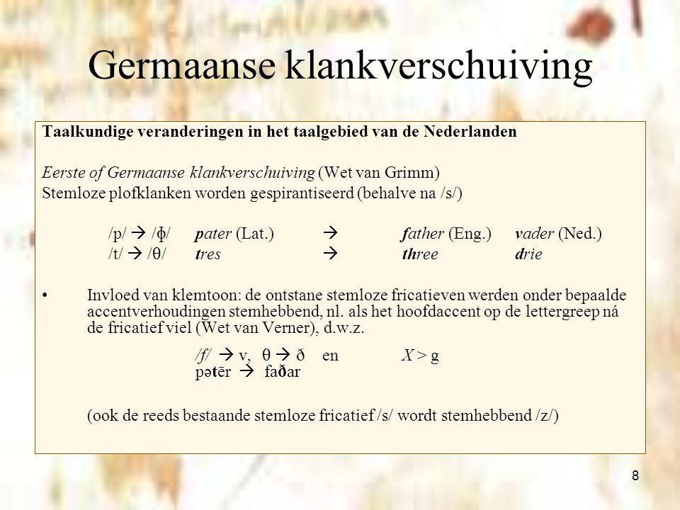 8 Germaanse klankverschuiving Taalkundige veranderingen in het taalgebied van de Nederlanden Eerste of Germaanse klankverschuiving (Wet van Grimm) Ste
