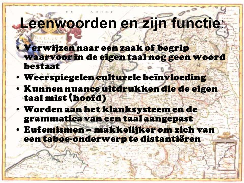 Leenwoorden en zijn functie: Verwijzen naar een zaak of begrip waarvoor in de eigen taal nog geen woord bestaat Weerspiegelen culturele beïnvloeding K