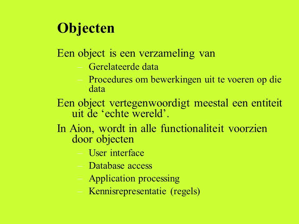 Objecten Een object is een verzameling van –Gerelateerde data –Procedures om bewerkingen uit te voeren op die data Een object vertegenwoordigt meestal een entiteit uit de 'echte wereld'.