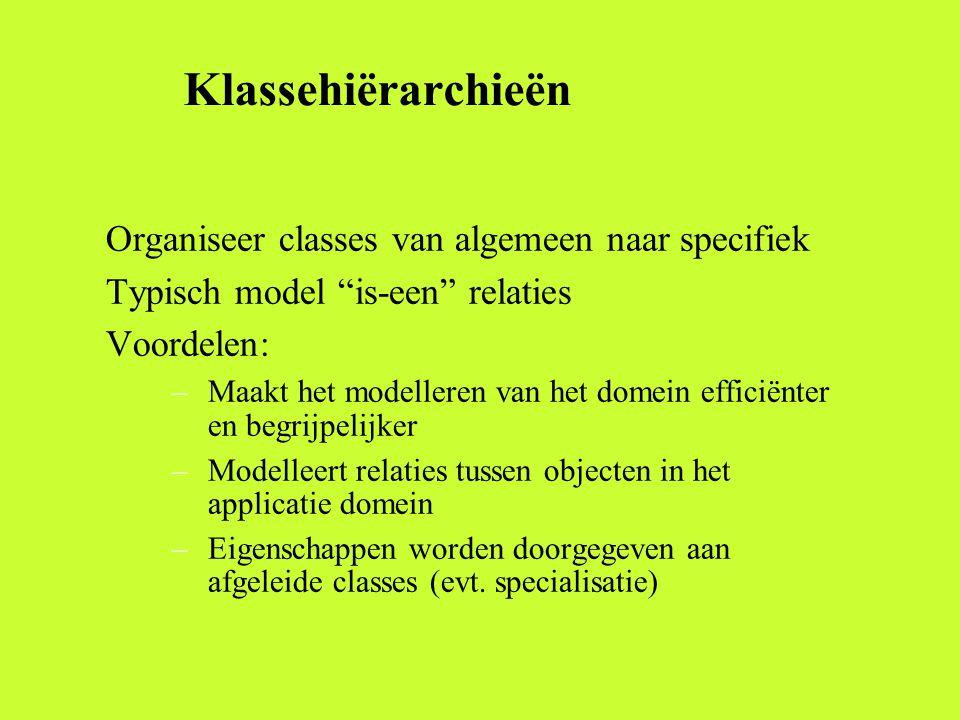 Klassehiërarchieën Organiseer classes van algemeen naar specifiek Typisch model is-een relaties Voordelen: –Maakt het modelleren van het domein efficiënter en begrijpelijker –Modelleert relaties tussen objecten in het applicatie domein –Eigenschappen worden doorgegeven aan afgeleide classes (evt.