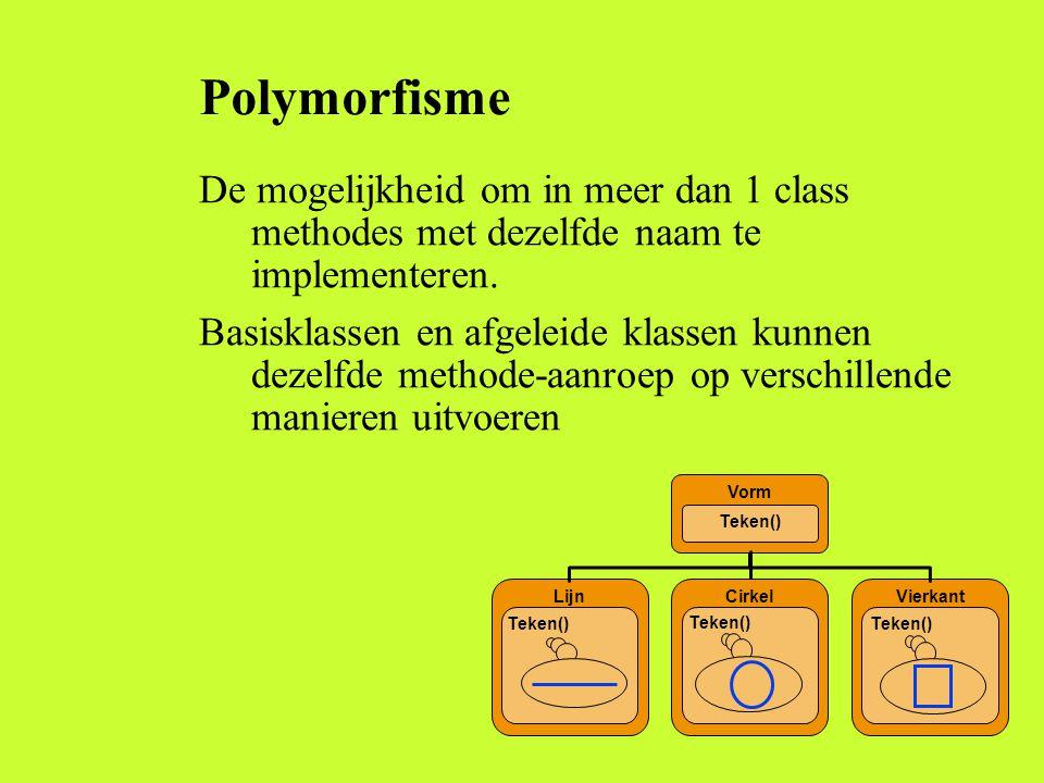 Polymorfisme De mogelijkheid om in meer dan 1 class methodes met dezelfde naam te implementeren. Basisklassen en afgeleide klassen kunnen dezelfde met