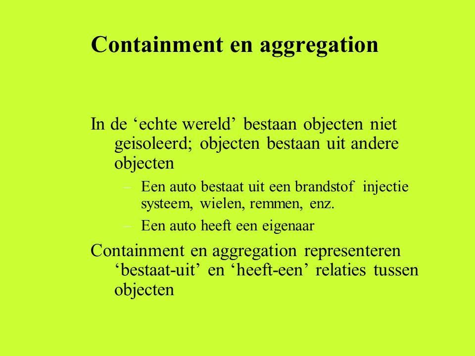 Containment en aggregation In de 'echte wereld' bestaan objecten niet geisoleerd; objecten bestaan uit andere objecten –Een auto bestaat uit een brandstof injectie systeem, wielen, remmen, enz.