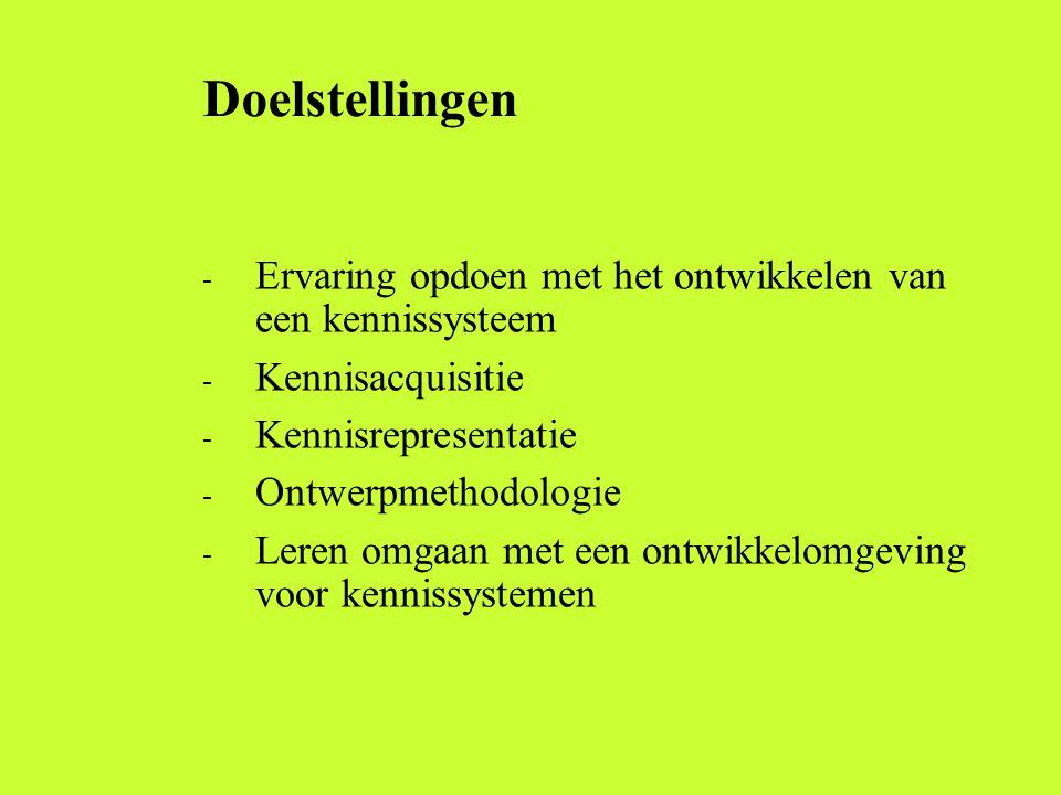 Doelstellingen - Ervaring opdoen met het ontwikkelen van een kennissysteem - Kennisacquisitie - Kennisrepresentatie - Ontwerpmethodologie - Leren omgaan met een ontwikkelomgeving voor kennissystemen