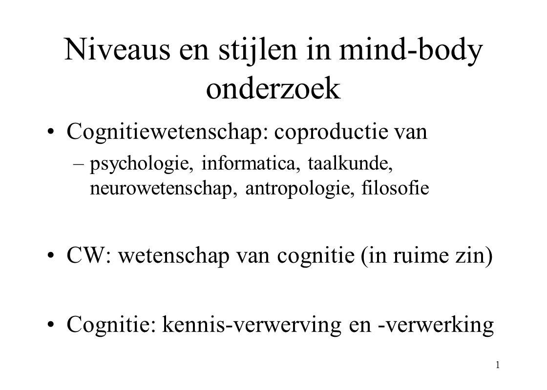 1 Niveaus en stijlen in mind-body onderzoek Cognitiewetenschap: coproductie van –psychologie, informatica, taalkunde, neurowetenschap, antropologie, filosofie CW: wetenschap van cognitie (in ruime zin) Cognitie: kennis-verwerving en -verwerking