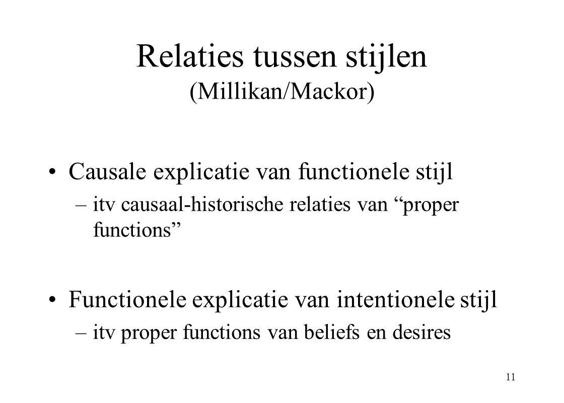 11 Relaties tussen stijlen (Millikan/Mackor) Causale explicatie van functionele stijl –itv causaal-historische relaties van proper functions Functionele explicatie van intentionele stijl –itv proper functions van beliefs en desires