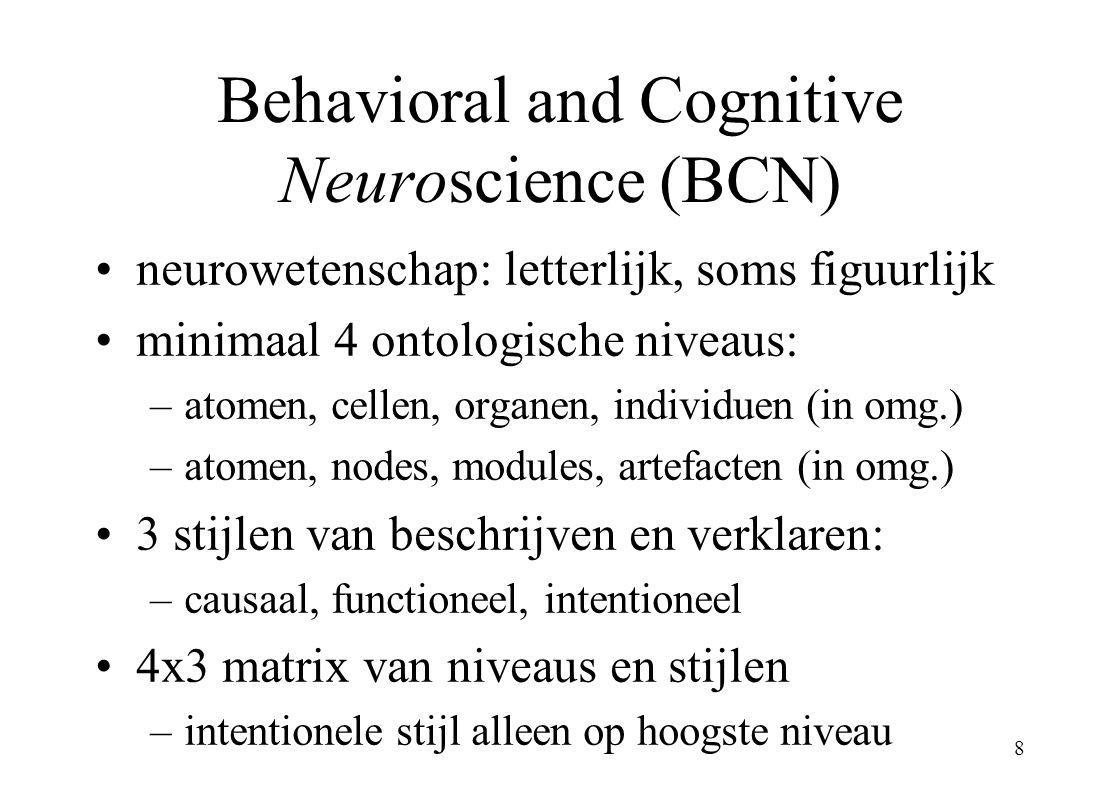 8 Behavioral and Cognitive Neuroscience (BCN) neurowetenschap: letterlijk, soms figuurlijk minimaal 4 ontologische niveaus: –atomen, cellen, organen, individuen (in omg.) –atomen, nodes, modules, artefacten (in omg.) 3 stijlen van beschrijven en verklaren: –causaal, functioneel, intentioneel 4x3 matrix van niveaus en stijlen –intentionele stijl alleen op hoogste niveau