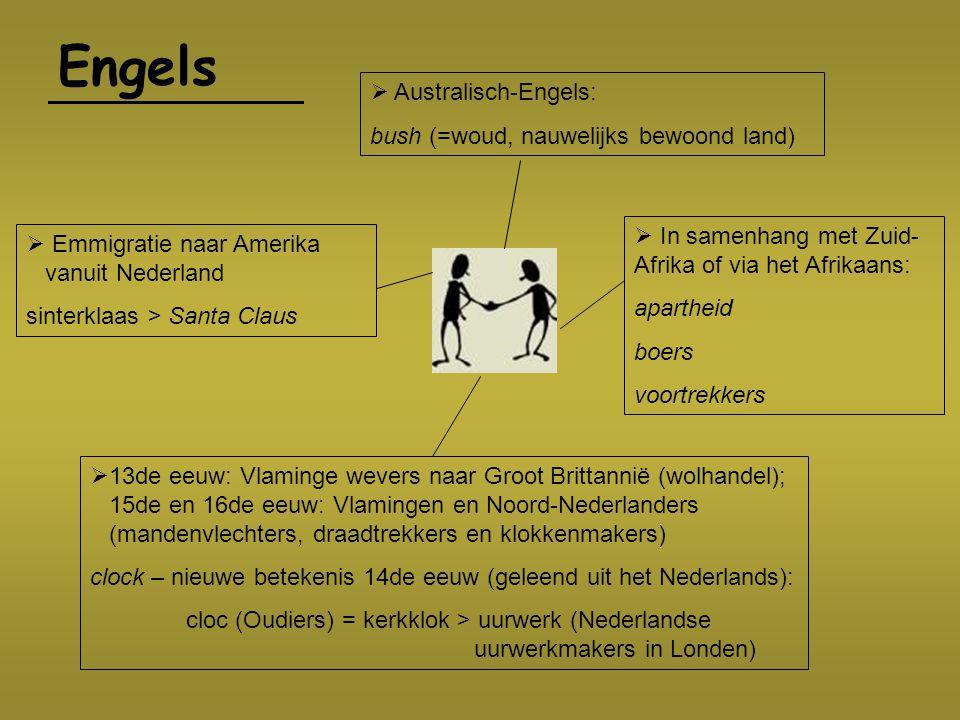 Engels  In samenhang met Zuid- Afrika of via het Afrikaans: apartheid boers voortrekkers  Australisch-Engels: bush (=woud, nauwelijks bewoond land)