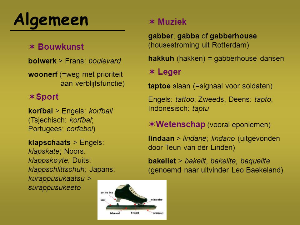 Algemeen  Sport korfbal > Engels: korfball (Tsjechisch: korfbal; Portugees: corfebol) klapschaats > Engels: klapskate; Noors: klappskøyte; Duits: kla