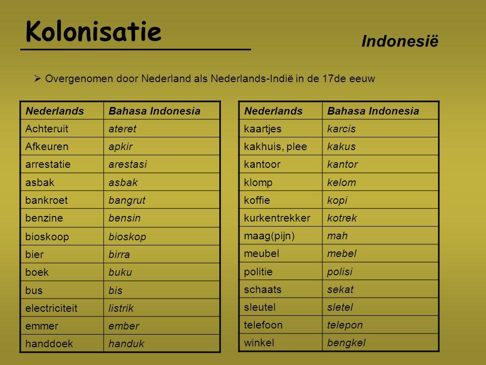 Kolonisatie NederlandsBahasa Indonesia Achteruitateret Afkeurenapkir arrestatiearestasi asbak bankroetbangrut benzinebensin bioskoopbioskop bierbirra