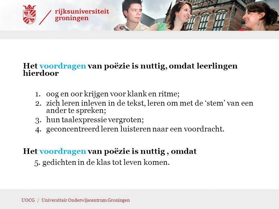 UOCG / Universitair Onderwijscentrum Groningen Uitspraak/labels