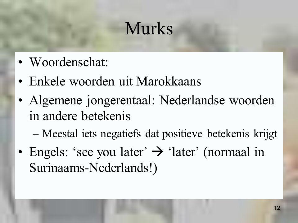 12 Murks Woordenschat: Enkele woorden uit Marokkaans Algemene jongerentaal: Nederlandse woorden in andere betekenis –Meestal iets negatiefs dat positi