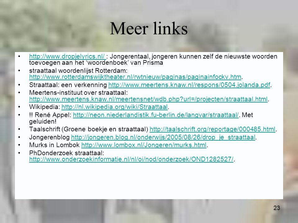 23 Meer links http://www.dropjelyrics.nl/ : Jongerentaal, jongeren kunnen zelf de nieuwste woorden toevoegen aan het 'woordenboek' van Prismahttp://ww