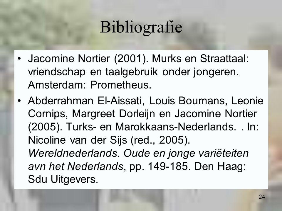 24 Bibliografie Jacomine Nortier (2001). Murks en Straattaal: vriendschap en taalgebruik onder jongeren. Amsterdam: Prometheus. Abderrahman El-Aissati
