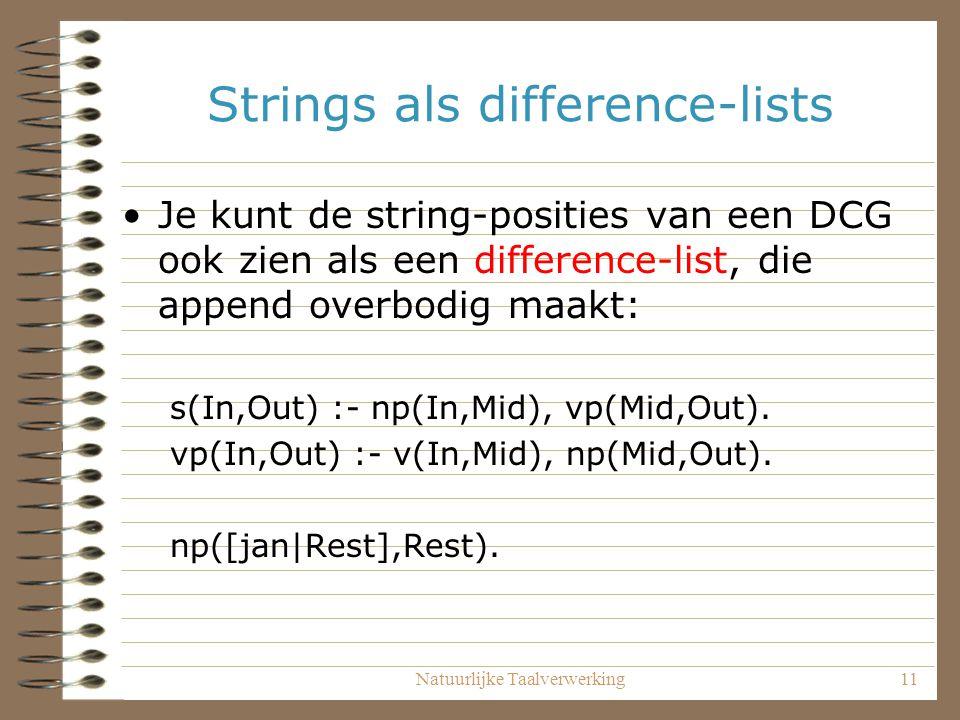Natuurlijke Taalverwerking11 Strings als difference-lists Je kunt de string-posities van een DCG ook zien als een difference-list, die append overbodi