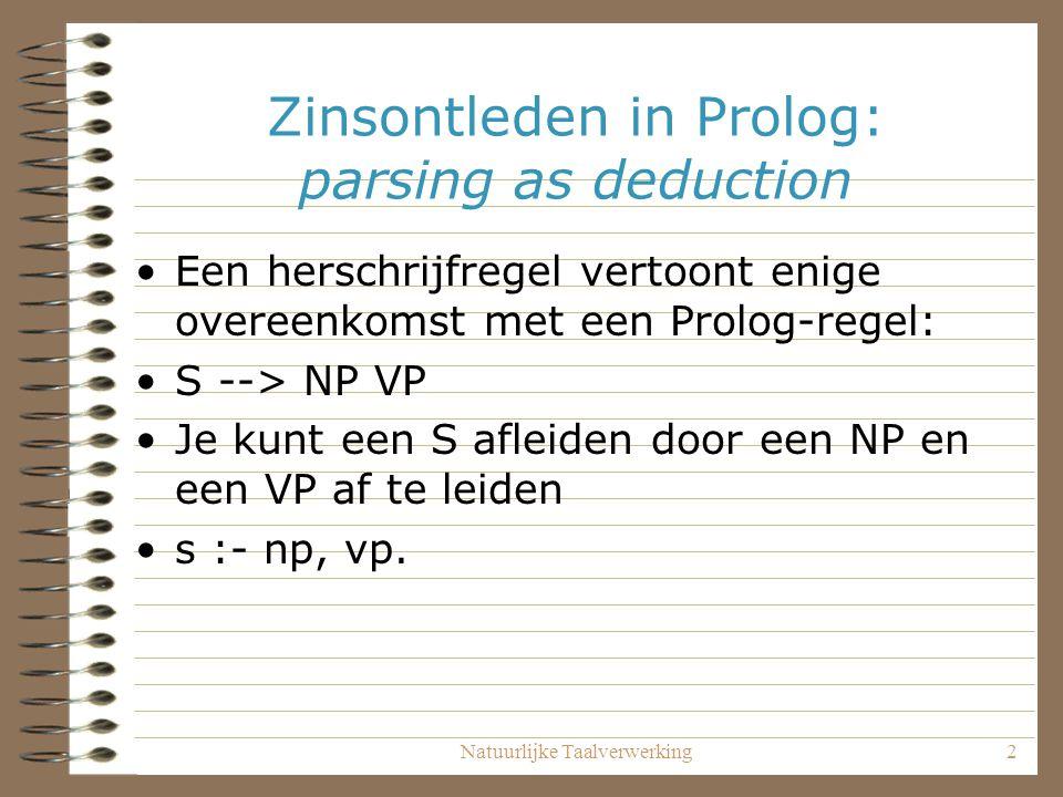 Natuurlijke Taalverwerking2 Zinsontleden in Prolog: parsing as deduction Een herschrijfregel vertoont enige overeenkomst met een Prolog-regel: S --> N