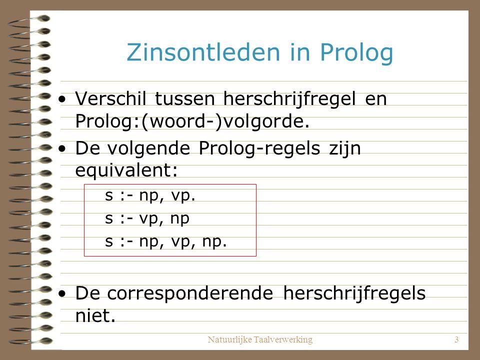 Natuurlijke Taalverwerking3 Zinsontleden in Prolog Verschil tussen herschrijfregel en Prolog:(woord-)volgorde. De volgende Prolog-regels zijn equivale