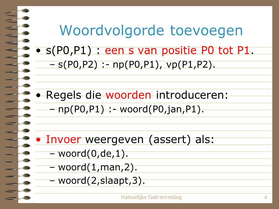 Natuurlijke Taalverwerking4 Woordvolgorde toevoegen s(P0,P1) : een s van positie P0 tot P1. –s(P0,P2) :- np(P0,P1), vp(P1,P2). Regels die woorden intr