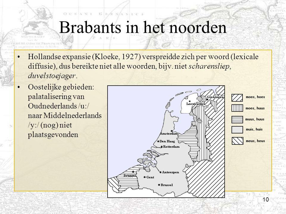 10 Brabants in het noorden Hollandse expansie (Kloeke, 1927) verspreidde zich per woord (lexicale diffusie), dus bereikte niet alle woorden, bijv. nie