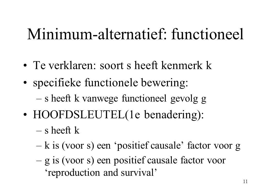 11 Minimum-alternatief: functioneel Te verklaren: soort s heeft kenmerk k specifieke functionele bewering: –s heeft k vanwege functioneel gevolg g HOO