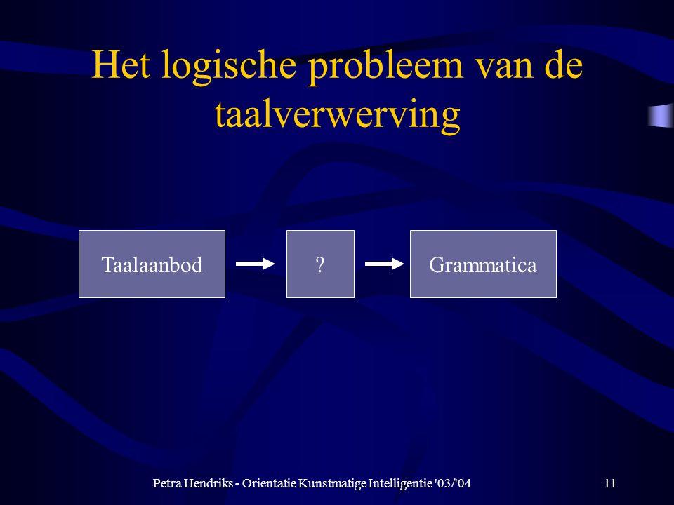 Petra Hendriks - Orientatie Kunstmatige Intelligentie 03/ 0411 Het logische probleem van de taalverwerving Taalaanbod?Grammatica