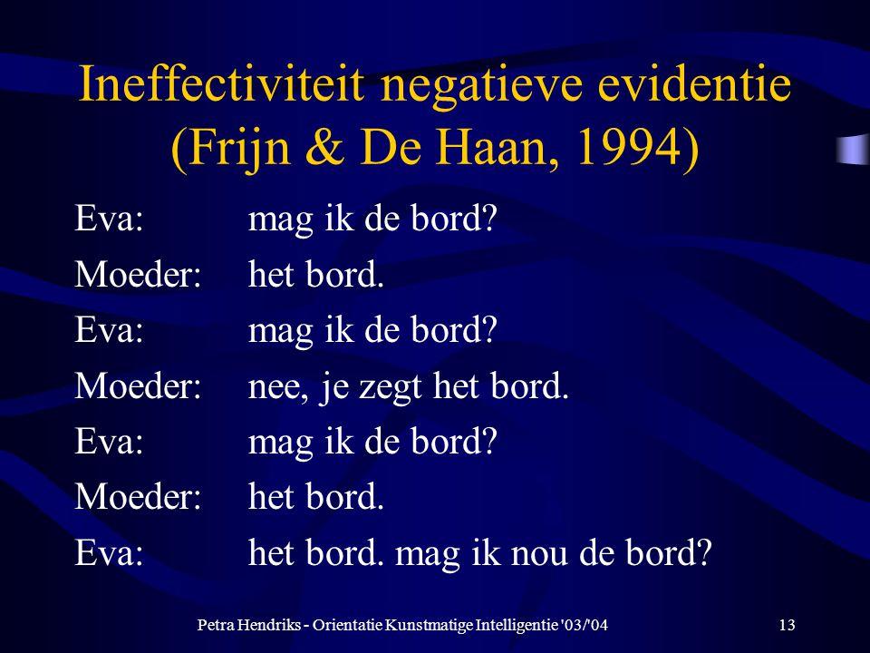 Petra Hendriks - Orientatie Kunstmatige Intelligentie 03/ 0413 Ineffectiviteit negatieve evidentie (Frijn & De Haan, 1994) Eva:mag ik de bord.