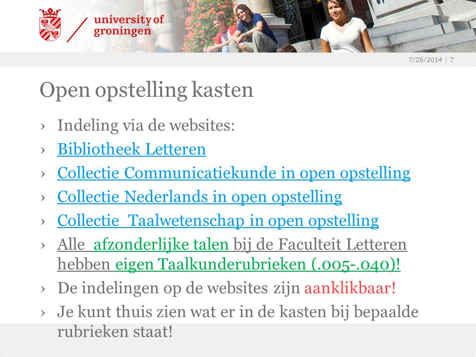Open opstelling kasten ›Indeling via de websites: ›Bibliotheek LetterenBibliotheek Letteren ›Collectie Communicatiekunde in open opstellingCollectie Communicatiekunde in open opstelling ›Collectie Nederlands in open opstellingCollectie Nederlands in open opstelling ›Collectie Taalwetenschap in open opstellingCollectie Taalwetenschap in open opstelling ›Alle afzonderlijke talen bij de Faculteit Letteren hebben eigen Taalkunderubrieken (.005-.040).