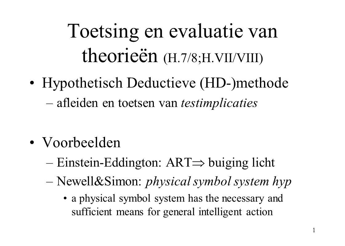 1 Toetsing en evaluatie van theorieën (H.7/8;H.VII/VIII) Hypothetisch Deductieve (HD-)methode –afleiden en toetsen van testimplicaties Voorbeelden –Ei