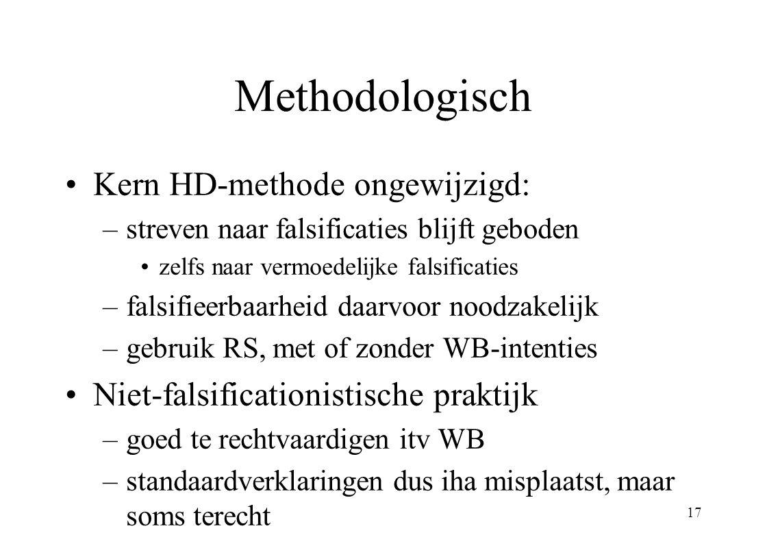 17 Methodologisch Kern HD-methode ongewijzigd: –streven naar falsificaties blijft geboden zelfs naar vermoedelijke falsificaties –falsifieerbaarheid d