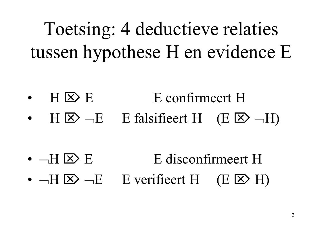 3 Deductieve (d-)confirmatie H  E, aangevuld met comparatieve principes –P.1: als E* plausibeler is dan E dan levert E meer confirmatie op dan E* (als H  E  E* dan...) –P.2: als H en H* beide geconfirmeerd worden door E dan evenveel Conditionele (d-)confirmatie: H&C  E Problemen: raven-/grue-paradox; opgelost!.