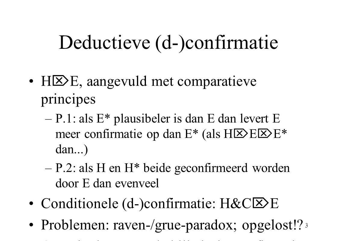 3 Deductieve (d-)confirmatie H  E, aangevuld met comparatieve principes –P.1: als E* plausibeler is dan E dan levert E meer confirmatie op dan E* (al