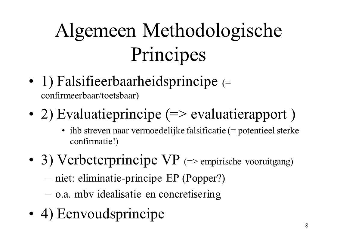 8 Algemeen Methodologische Principes 1) Falsifieerbaarheidsprincipe (= confirmeerbaar/toetsbaar) 2) Evaluatieprincipe (=> evaluatierapport ) ihb strev