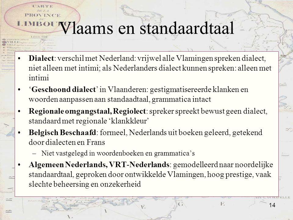 14 Vlaams en standaardtaal Dialect: verschil met Nederland: vrijwel alle Vlamingen spreken dialect, niet alleen met intimi; als Nederlanders dialect k