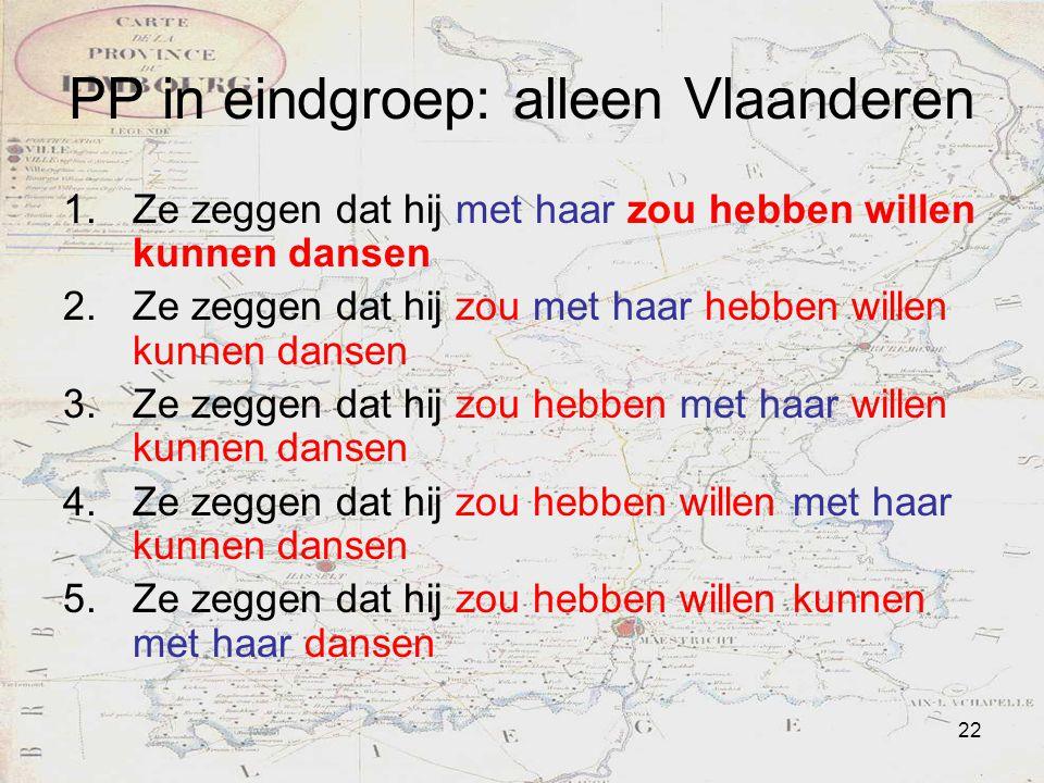 22 PP in eindgroep: alleen Vlaanderen 1.Ze zeggen dat hij met haar zou hebben willen kunnen dansen 2.Ze zeggen dat hij zou met haar hebben willen kunn