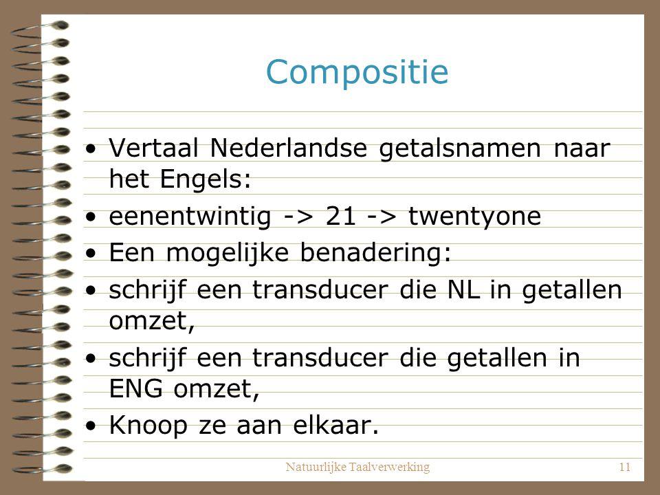 Natuurlijke Taalverwerking11 Compositie Vertaal Nederlandse getalsnamen naar het Engels: eenentwintig -> 21 -> twentyone Een mogelijke benadering: schrijf een transducer die NL in getallen omzet, schrijf een transducer die getallen in ENG omzet, Knoop ze aan elkaar.