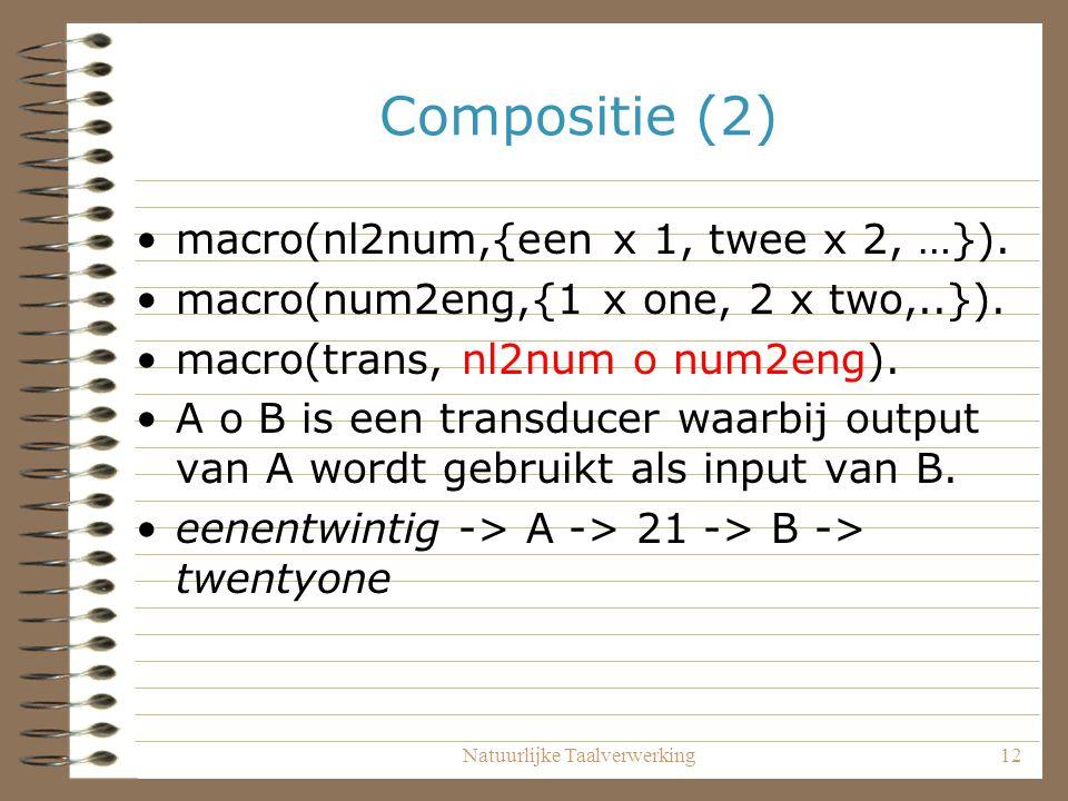 Natuurlijke Taalverwerking12 Compositie (2) macro(nl2num,{een x 1, twee x 2, …}).